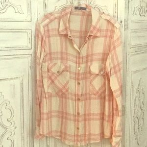 Sanctuary pink and ivory plaid flannel